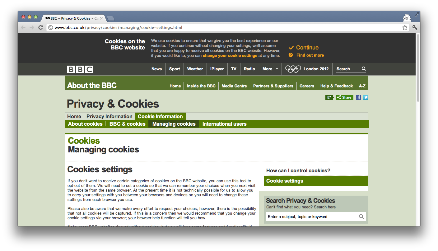 BBC Page with cookie header