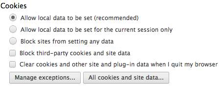 Chrome cookie settings